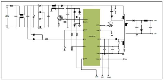 xdpl8220典型应用电路图 参考设计ref-xdpl8220-u100w efficient and